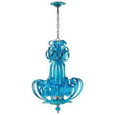 Turquoise Aqua Italiano Florence Pendant Chandelier  Inspiring Hollywood Interior Design Accents, Courtesy of InStyle-Decor.com Beverly Hills for Interior Design Fans to Enjoy