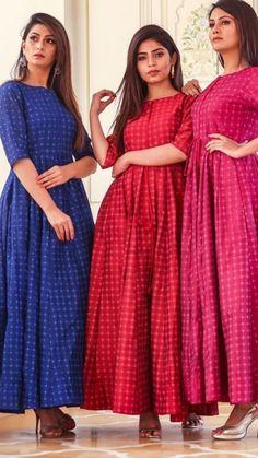 For details / order please dm or Whatsapp on . Salwar Designs, Kurta Designs Women, Kurti Designs Party Wear, Cotton Long Dress, Long Gown Dress, Frock Dress, Frock Design, Frock Fashion, Fashion Dresses