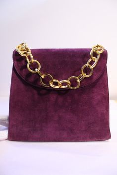 Vintage SALVATORE FERRAGAMO Purple Suede Handbag with Gold Circle Chain Link Handle.  at Rice and Beans Vintage http://www.riceandbeansvintage.com/NewArrivals.html