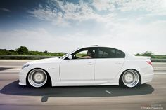 BMW E60 (5 series), sitting on Leon Hardiritt Orden wheels and lowered on KW Variant 2 coilovers.