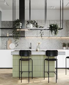 When u r one step closer to changing your whole kitchen be sure u think about sum high leather chairs contrasting the green furn Kitchen Decor, Kitchen Inspirations, Interior Design Kitchen, Kitchen Dining, House Interior, Kitchen Interior, Interior, Kitchen Cabinets Decor, Kitchen Dining Room