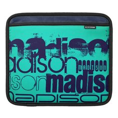 Custom Name; Navy Blue and Neon Aqua Turquoise iPad Sleeve