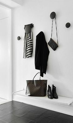 minimal entryway - coat hanger by MUUTO, shelf by IKEA