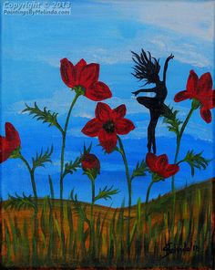 Children's Room Art, Little Fairy With Red Poppies