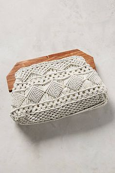 Anthropologie Kamm Woven Metallic Clutch www. Macrame Purse, Clutches For Women, Macrame Design, Macrame Projects, Macrame Patterns, Knitted Bags, Purses And Handbags, Clutch Bag, Bag Accessories