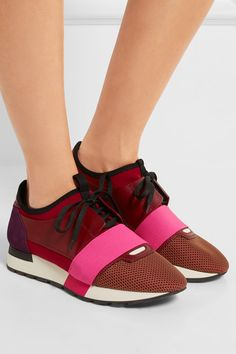 Rubber sole measures approximately 10mm/ 0.5 inches Multicolored leather, mesh, suede and neoprene Lace-up front Made in Italy