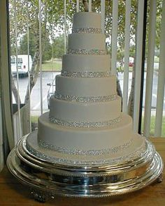 yet another rhinestone banded wedding cake - only this one has perfect proportions!