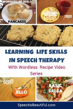 Video recipes are a great way to teach sequencing and expressive language skills to kids while they learn useful life skills. You can find a series of wordless recipe videos on this page a free handout you can use in your speech therapy sessions. - Speech is Beautiful #slpeeps #speechtherapyvideo #teletherapy #sequencingactivities #languageactivities