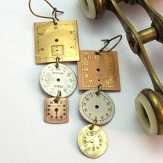 Tri Colored Steampunk OOAK Earrings Vintage Watch by mysticpieces, $38.00