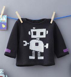 Modèle pull motif robot - Modèles Layette - Phildar