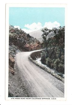 Vintage postcard of Ute Pass Road near Colorado Springs, Colorado. Postcard is unused and in good condition. Pikes Peak, Colorado Springs, Old Photos, The Past, Country Roads, History, Places, Pictures, Outdoor
