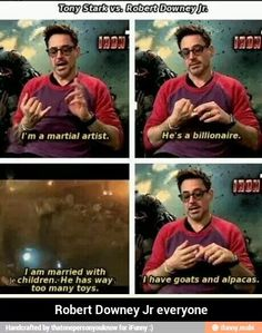 He has goats and alpacas! I didn't think it was possible to love RDJ more
