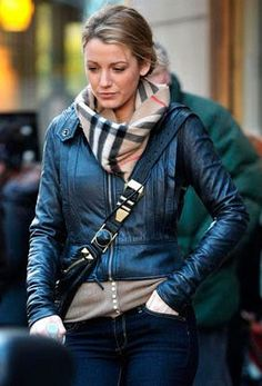 Navy crop leather jacket and Burberry scarf <3