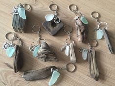 Sea Glass KeyRing Handmade from Isle of Wight Seashores Natuical Present Id. -Driftwood Sea Glass KeyRing Handmade from Isle of Wight Seashores Natuical Present Id. - Tiny Textured Tiles A Polymer Clay PDF Tutorial Inchie Driftwood Beach, Driftwood Art, Painted Driftwood, Driftwood Jewelry, Driftwood Mobile, Driftwood Furniture, Mason Jar Sconce, Isle Of Wight Beach, Driftwood Projects