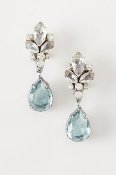 "These aquamarine crystal earrings fit very stylishly into the category of ""something blue"" for your wedding day. A love for handmade objects and an artisan passion for detail underscore all of Rada's designs, from shoes to scarves to bijoux.  