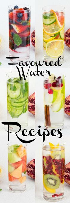 Refreshing Flavoured Water Recipes great for diet boost, detox and rehydrating.