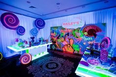 A bright neon futuristic candy bar at a Bat Mitzvah {Photo by Michael Bennett Kress} Bar Mitzvah Themes, Bat Mitzvah Party, Neon Party Themes, Futuristic Party, Candy Display, Sweet Sixteen Parties, Travel Party, Glow Party, Candyland
