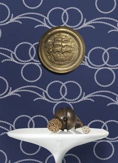 possible wall paper for pink bathroom - Chains Wallpaper in Navy and White design by Kreme