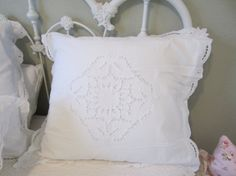 Gorgeous Battenberg lace European pillow shams!  I have two and the price is for one. Made of 100 percent cotton, these are pure white and in