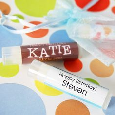 Personalized Lip Balm Birthday Favor by Beau-coup. I need to order this for her party!!