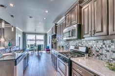 Stunning kitchen leading to dining