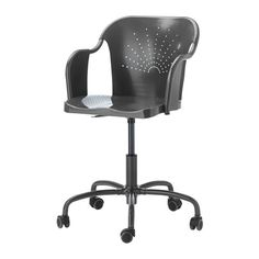 IKEA - ROBERGET, Swivel chair, gray, , You sit comfortably since the chair is adjustable in height.You sit comfortably thanks to the shaped back and scooped seat.The casters are rubber coated to run smoothly on any type of floor.