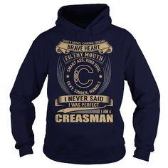 Awesome Tee CREASMAN Last Name, Surname Tshirt T shirts