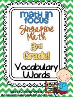 {THIRD GRADE} Math in Focus-Singapore Math Vocabulary Mini