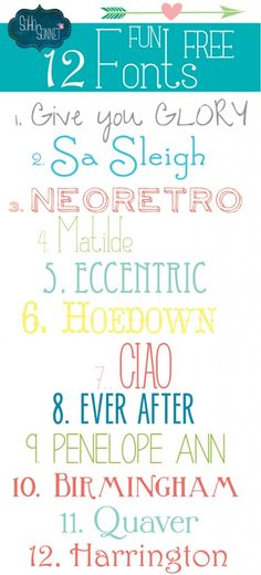 12 Fun Free Fonts - SohoSonnet Creative Living