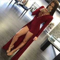 Women Sexy Lace Up Deep V-Neck Full Sleeve Maxi Long Dresswith Playsuits For Autumn Fall Spring Winter New