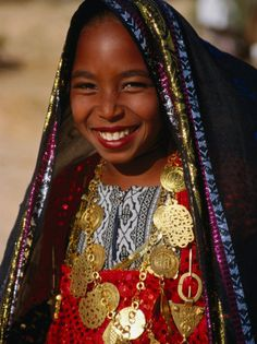 Girl in Traditional Dress at Sahara Festival, Looking at Camera, Douz, Tunisia