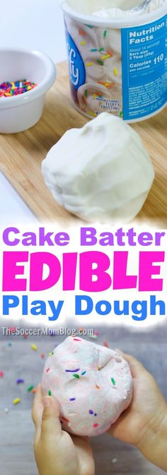 This Birthday Cake Batter Edible Play Dough smells good enough to eat! Awesome k… This Birthday Cake Batter Edible Play Dough smells good enough to eat! Awesome kids boredom buster: 3 simple ingredients, easy to make, & easy to clean up! Easy Diy Crafts, Diy Crafts For Kids, Projects For Kids, Fun Crafts, Kids Diy, Fun Diy, Edible Crafts, Diy Projects, Simple Crafts