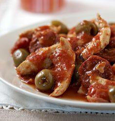 Photo de la recette : Poulet sauté au chorizo, olives et tomates