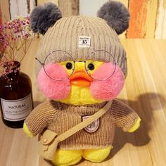 Cafe-Mimi Yellow Duck Plush Toy With Pink Cheek Stuffed Duck Toys Cute Stuffed Animals, Cute Animals, Duck Wallpaper, Got Anime, Cute Ducklings, Film Anime, Duck Toy, Pink Cheeks, Cute Love Memes