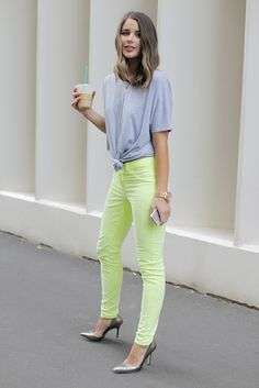lime green pants outfit