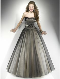 Fabulous Ball Gown Strapless Satin and Tulle With Lace Floor-Length Prom Dress