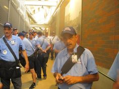 Would you buy a used car from this man??  Abe is near the front of the line waiting for his assignment to work at Wrigley Field on 7/31/14