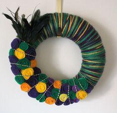 Mardi Gras Wreath, Yarn and Felt Wreath, Purple Green Yellow Wreath - 12 inch size. $44.00, via Etsy.