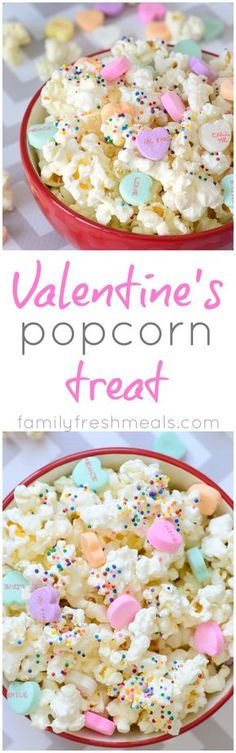 Serves: 4 12 oz white chocolate 8 cups popped popcorn ½ tsp. salt Conversation Hearts Valentines Day sprinkles