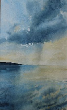 Original Watercolour seascape of cornwall sea and by PenstoneArt