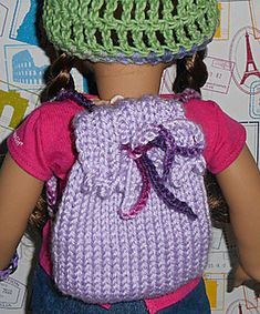 """Picot Backpack (for AG or other 18"""" Doll) pattern by Sinclair Siler"""