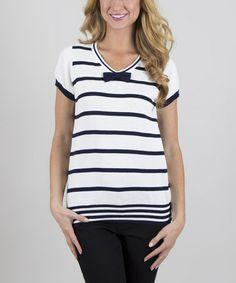 Loving this Navy & White Success V-Neck Sweater on #zulily! #zulilyfinds $19.99, regular 33.00