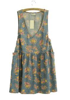 Blue Flowers Print Pockets V-neck Sleeveless Denim Dress.