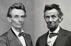 Abraham Lincoln before and after the civil war. 1860, 1865.