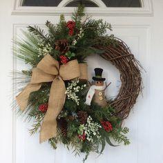 Christmas Wreath-Snowman Wreath-Whimsical Wreath-Holiday Wreath-Whimsical Christmas-Rustic Wreath-Woodland Christmas-Country Christmas by ReginasGarden on Etsy https://www.etsy.com/listing/257433086/christmas-wreath-snowman-wreath
