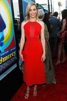 June 2015: Elizabeth Banks matched red Sophia Webster heels with her Osman dress.