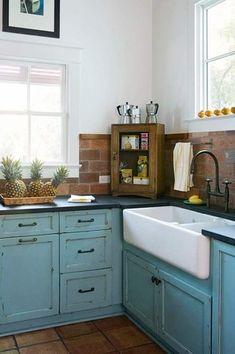 Country Kitchen with L-shaped, Flat panel cabinets, Slate Tile, Flush, Farmhouse sink, terracotta tile floors, Stone Tile