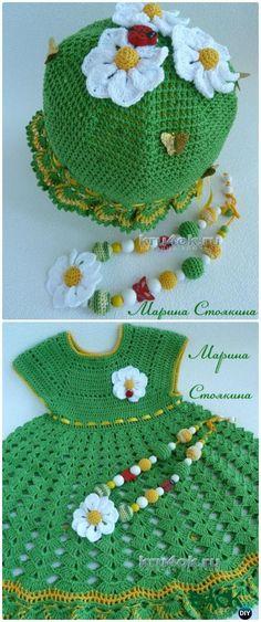 Crochet fleur luxuriante robe Diagramme gratuit - Crochet Girls Dress Free Patterns