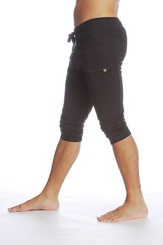 Cuffed Short Pants for Men (Black) - Perfect 4 Yoga, pilates, tennis, the gym & running errands. Bamboo green stitch details. Flex waist band with luxe draw cord. (Yoga-Eco-Clothing.com) | yogaecoclothing