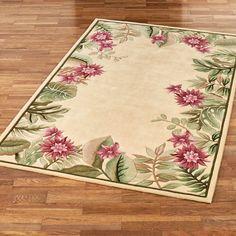 Tropical Floral Area Rug Decor, Floral Pattern, Tropical Floral, Floral Area Rugs, Home Decor, Rugs, Rug Decor